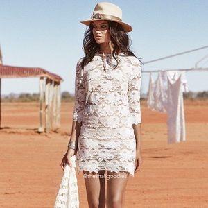 SPELL Rosamond White Lace Mini Dress
